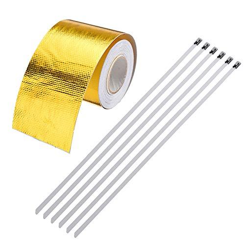 Gold Hitzeschutzband Hitzereflexionsband Selbstklebend Auspuff Krümmer Reflektierend Band - 5m x 50mm