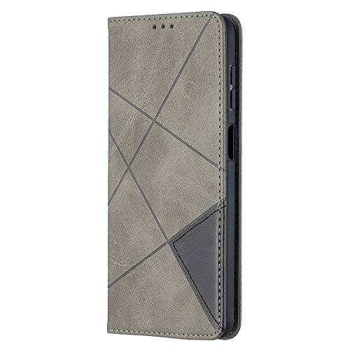 TOPOFU Funda para Samsung Galaxy A22 5G, [Vintage de Billetera Cuero de la PU] Magnético Carcasa con Tapa Abatible y Ranuras para Dinero y Tarjeta de Crédito-Gris