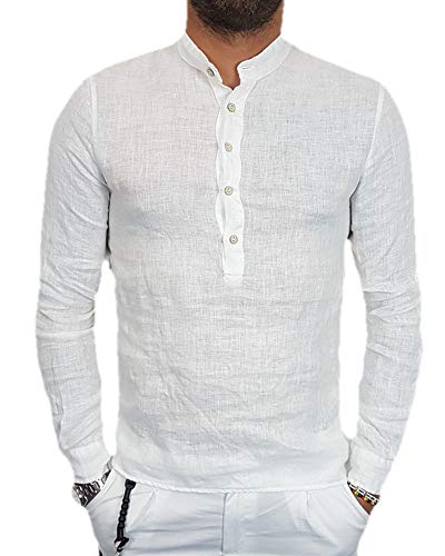 SySea Mens Casual V Neck Cotton Linen Long Sleeve Hippie Shirts Banded Collar Henley Tops with Buttons (XX-Large, 1 White)
