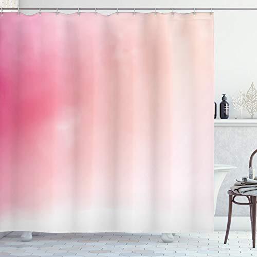 ABAKUHAUS Rosa Duschvorhang, Verschwommene Farben Fantasy, aus Stoff inkl.12 Haken Digitaldruck Farbfest Langhaltig Bakterie Resistent, 175 x 220 cm, Rosa Pfirsich weiß