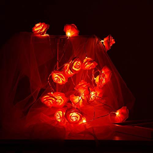 FeiliandaJJ Lichterkette Rote Rose 2M 20LED Dekorative LED-Leuchten Hochzeit Party dekorative Lichter Geschenk Laternen String Lights (Rot)