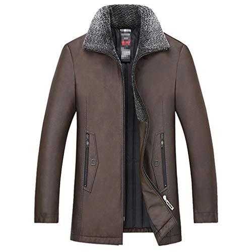NHX Herren-Leder-Mäntel und Jacken beiläufige Herbst und Winter Mantel aus gewaschenem Leder Motorradjacke halbe Länge Klassische Warm Lederjacke,Coffee-3XL4XL