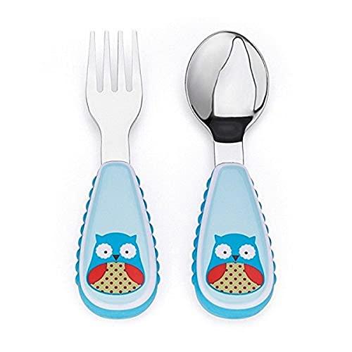 Skip Hop Toddler Utensils, Fork and Spoon Set, Owl