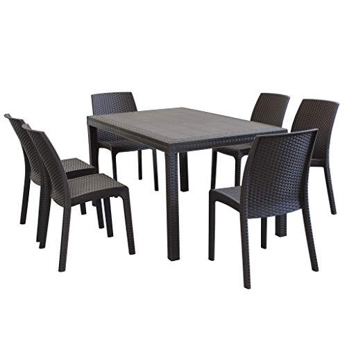 MilaniHome Set Tavolo da Giardino Rettangolare Fisso Cm 150 X 90 con 6 Sedie in Wicker Stampato Marrone da Esterno Giardino