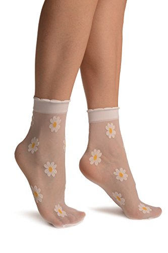 LissKiss White With Woven Daisy Flowers Socks Ankle High - Weiß Socken Einheitsgroesse (37-42)