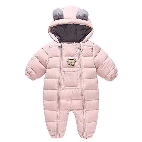 Bambino Pagliaccetto con Cappuccio Invernale Outfit Tuta da Neve Manica Lunga Snowsuit Modello di Orso Abiti Regalo Ragazzi Ragazze 9-12 Mesi Rosa