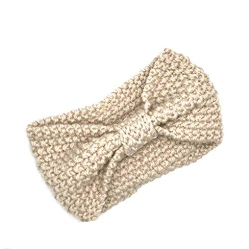 ELENXS New Girl Accessoires Cheveux Mode Hiver Chaud Bowtie Femmes Crochet Tressé Bonnet Cap Bandeau Lady Cheveux Bande Beige