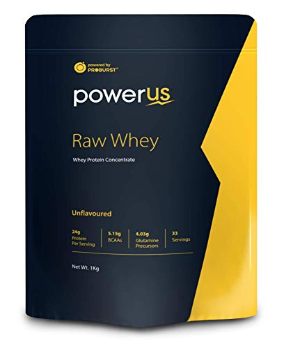 Powerus Raw Whey 1kg (Unflavoured), Whey Protein Concentrate 80%, 24g Protein, 5.15 g BCAA, 4.03 g Glutamine