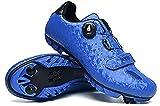 JINFAN Zapatillas de Ciclismo MTB, Zapatillas de Bicicleta de Montaña para Hombre,Zapatos de Cala de Bicicleta Antideslizantes para Exteriores,Blue-8.5UK=42EU(260mm)