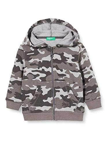 United Colors of Benetton Baby-Jungen Felpa Zip Strickjacke, Grau (Sky Gray 60m), 86/92 (Herstellergröße: 2y)