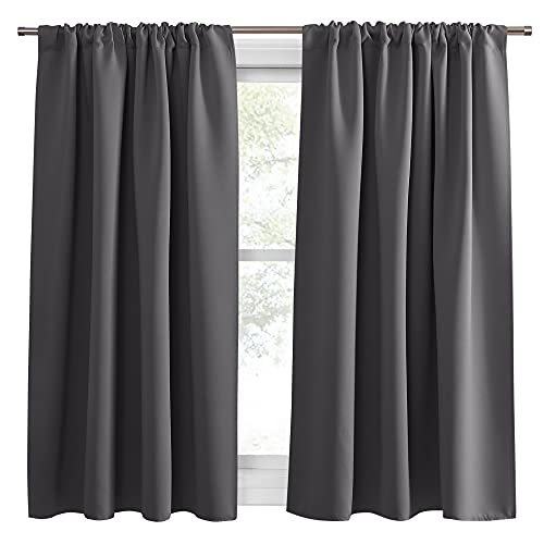 PONY DANCE Grey Blackout Curtains - Rod Pocket Drapes Thermal Insulated Panels Home Decor Window Treatments Draperies for Bedroom, 42 inch Wide by 45 inch Long, Grey, Sold as 1 Pair
