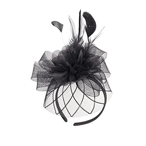 Colours & Beauty Fascinator per Capelli Donna Nero | Cappello Fascinator in Velo a Rete e Piume | Cerchietto per Capelli Donna Elegante |Cappellino Donna Cerimonia