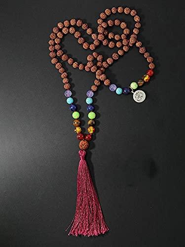 LONGJIQ Rudraksha Mala Collar Yoga Meditación 108 Mala Bodhi Cuentas Collar Fantastic