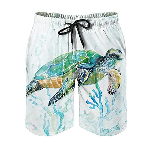 kikomia Bañador para hombre, diseño de tortuga marina, color coral, estampado moderno, con bolsillos, Hombre, Blanco, 6XL