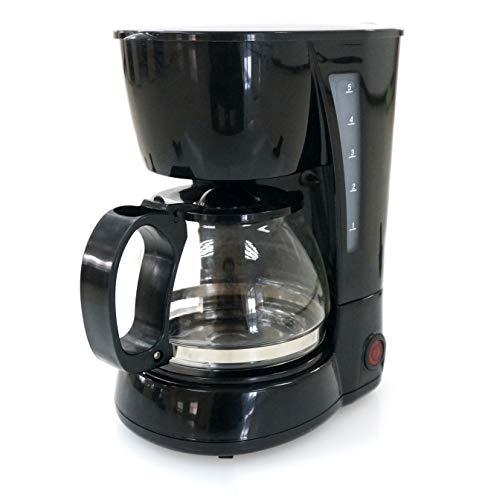 Family Care Cafetera de Goteo, cafetera eléctrica, Jarra 0.6 litros para 4 Tazas, Acero inoxidable y plástico, color Negro, 650 W
