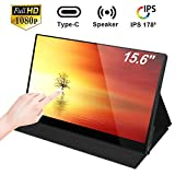 2020 Portable Monitor - NexiGo 15.6 Inch Touchscreen Full HD 1080P IPS Monitor USB Type-C/HDMI Port Second Display for Laptop PC MAC Raspberry Pi PS4 Xbox Switch Black Smart Cover Included