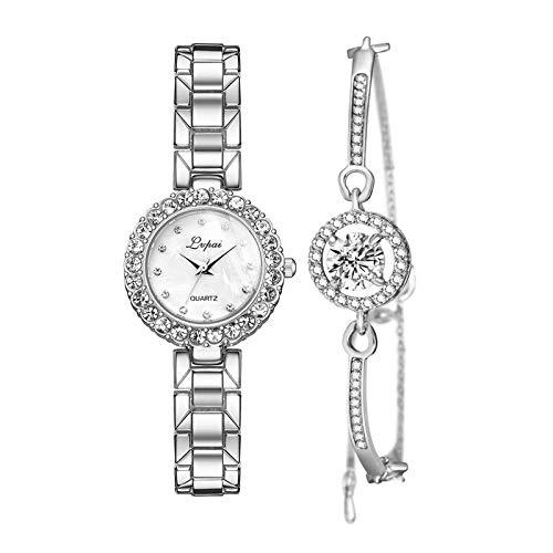 #N/A/a Juego de Pulsera Y Reloj de Lujo para Mujer Reloj de Pulsera de Cuarzo Regalo de Joyería - Blanco Plateado de Plata