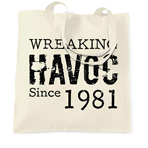 Wreaking Havoc Since 1981 Tote Bag, Natural or White