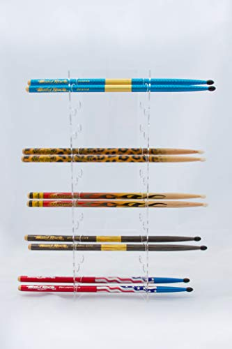 GBA Drumstick Display - Acrylic Collector Drumstick Rack - 10 Sets - For Displaying Hard Rock Cafe and Collector Drumsticks