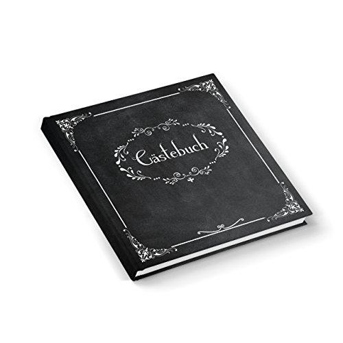 Edel nostalgisch schwarz weißes Gästebuch 21 x 21 cm 164 Seiten Vintage Nostalgie Look -...