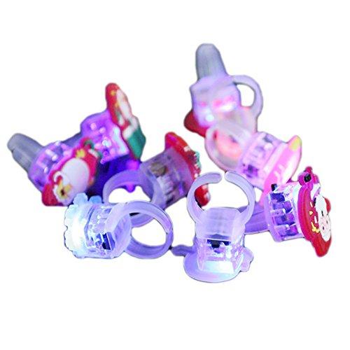 Beetest - 50PCS Carino Natale Xmas LED Luce Plastica Anelli di Barretta Giocattoli Regali Decorazioni per Bambini Adulti Modello Casuale