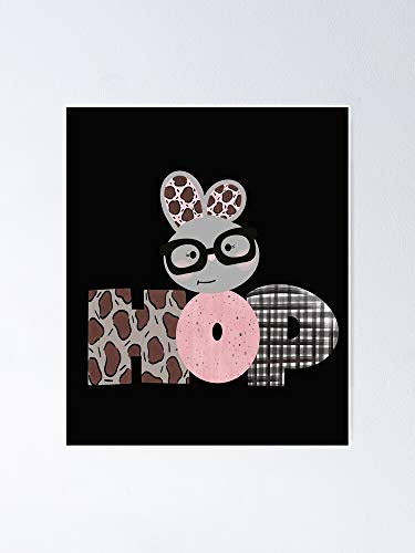 Hop Cute Bunny with Black-Framed Glasses Poster - for Quote Print, Affordable Wall Art Printable, Gallery Wall, Family, Friends, Brother, Sister, Kids.
