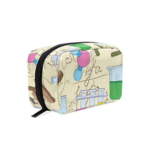 CONICIXI Stylish Daily Toiletry Bag Science Education Lab Sketch Books Equation Loupe Microscope Molecule Flask Print Makeup Accessories Organizer Cosmetic Bags Travel Storage Pouch Handbag Portable