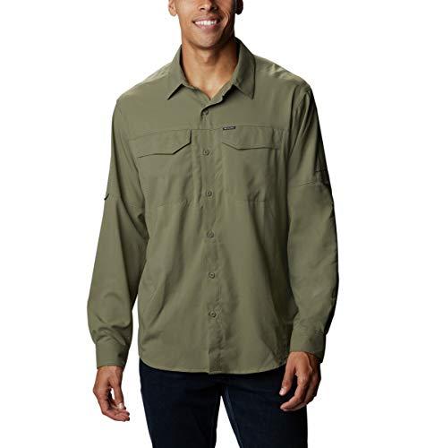 Columbia Men's Silver Ridge Lite Long Sleeve Shirt, UV Sun Protection, Moisture Wicking Fabric, Stone Green, Medium
