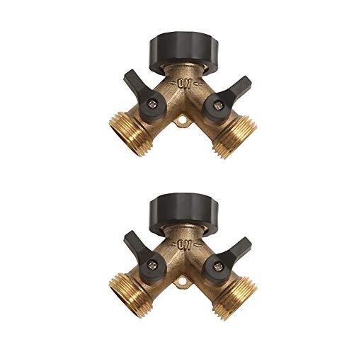 Veragreen - Divisor de manguera de latón de 2 vías, conectores de manguera de latón de 3/4 pulgadas, accesorio de grifo de latón de metal resistente (paquete de 2)