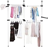 GOTOTOP Telescopic Garment Rack,Adjustable Clothing Rack, Double 2 Tier Heavy Duty Hang Clothes Rack,Closet Organizer, Freestanding Ceiling Hanging Closet Display Stand,No Drilling, No Tools Needed