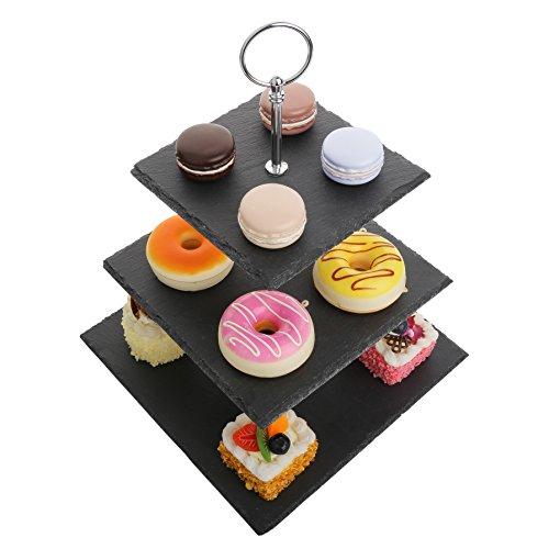 MALACASA, Série Sweet.Time, Présentoir à Gâteau en Ardoise 3 Étages Assiette à Gâteau Dessert Support Cupcakes Stand pour Mariage Fête Soirée Anniversaire Carré Noir