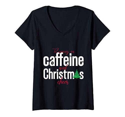Mujer Corriendo con cafeína y alegría navideña - Navidad Camiseta Cuello V