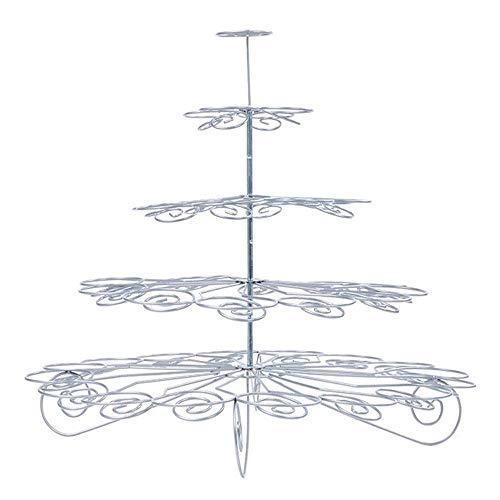 Yaeeee norte de Europa 5-Tier Magdalena soporte de la torta de visualización Artículos for la fiesta de palcos, mini magdalenas Torre Holder árbol Food Party servidor (Color: Plata, Tamaño: un tamaño)