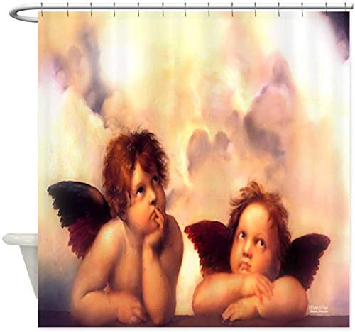 DressYourHome Inc Personalized Custom Shower Curtain,Anime Pair Angels Shower Curtain,72 W X 72 L Inches