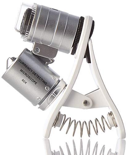 kuyia Mini tipo clip universal 60x LED Microscopio teléfono móvil microscopio UV luz lupa del joyero de la joyería lupa UV moneda Detector
