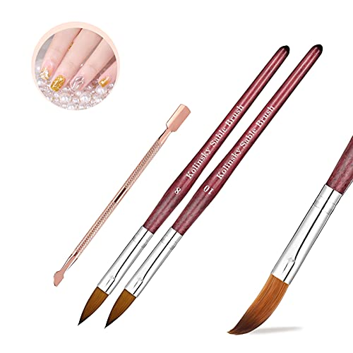 Dadop 3 Pcs Kolinsky Acrylic Nail Brushes Set, Kolinsky Acrylic Nail Brush Size 8 10 for Acrylic Application with Round Red Wood Handle and a Rose Gold Metal Cuticle Pusher