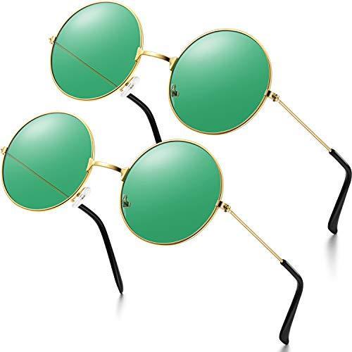 2 Paare Hippie Brille Sonnenbrille Retro Hippie Stil Sonnenbrille Hippie Kleid Kostüm Sonnenbrille Männer Damen Brille (Grün Runde Form)