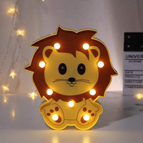 LDTSWES® Led Cartoon Lion Night Light, Decoración De Dormitorio 3D Night Light, Lámpara De Pared Para Niños, Regalo De Navidad