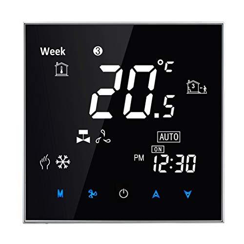 JINSE centrale airconditioning, type Touch LCD digitale 2-buisventilatorspoel, kamerthermostaat, display ventilatorsnelheid/klok/temperatuur/tijd/week/hitte etc. Large zwart