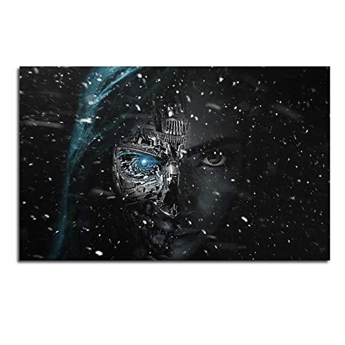 TanjunArt Impresiones en Lienzo Pintura Fantasía Robot Cara Chica Arte de la Pared Cartel Abstracto Imagen Decorativa para la Sala de Estar Decoración del hogar -70x110cm Sin Marco