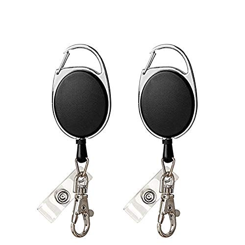 2PCS Upgrade Retractable Badge Holder,Vkermury Retractable Badge Carabiner Key Chain with Extendable Strong Spring Lanyard Reel and Metal Split Ring for Keys ID Card - Black