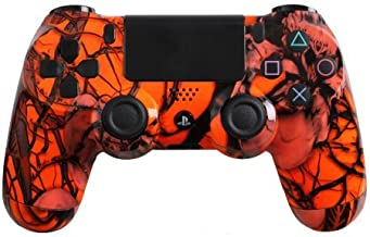 Custom PlayStation 4 Controller Special Edition Orange Nightmare Controller