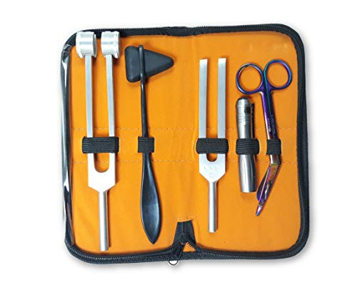 ZetaLife Reflex - Set of 5 pcs Reflex Hammer + Penlight + Tuning Fork C 128 C 512 + Bandage Scissors 5.5' (Regular)