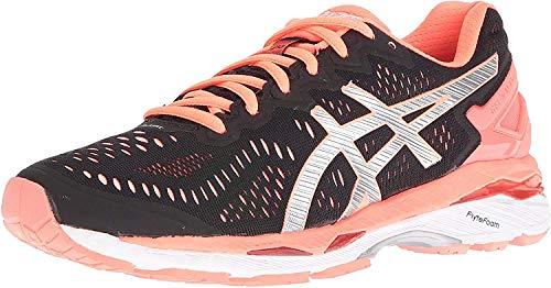ASICS Women's Gel-Kayano 23 Track Shoe, Black/Silver/Flash Coral, 8 M US
