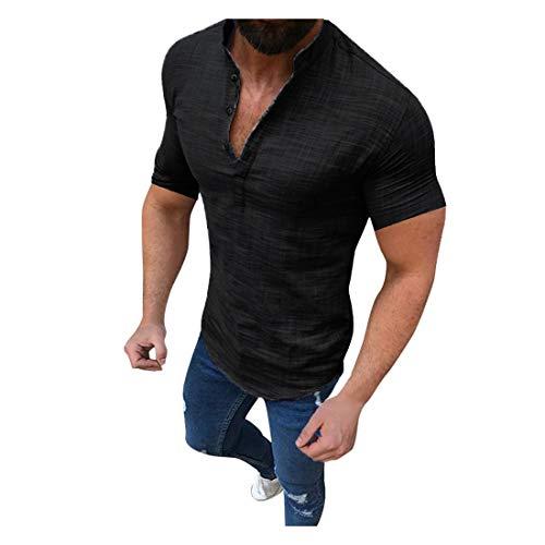 KEERADS- T Shirt Manche Courte Sport Musculation Hommes Été Tattoo Mode Coton Col en V Grande Taile Décontractée Svelte Top Blouse Pas Cher Swag
