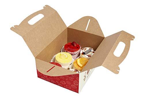 Packxperts Gebäckkartons mit Tragegriff, 250x180x100 mm, (25er Pack) Tragebox/Cupcake Box