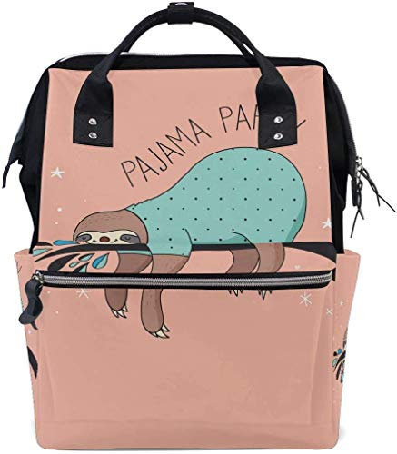 UUwant Sac à Dos à Couches pour Maman Large Capacity Diaper Backpack Travel Manager Baby Care Replacement Bag Nappy Bags Mummy Backpack Cute Sloths Pajama Party Pattern School Bag