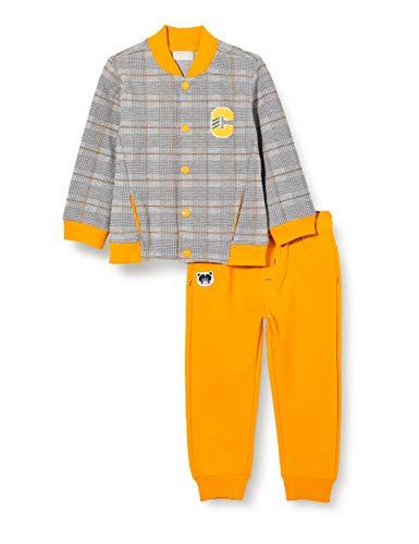 Chicco Baby-Jungen Completino Cardigan + Pantaloni Lunghi Abendanzug - Set, Grau und Gelb, 80
