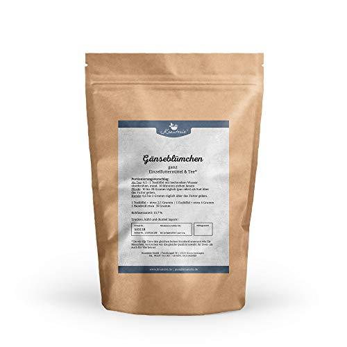 Krauterie Gänseblümchen in hochwertiger Qualität, frei von jeglichen Zusätzen, ganze Pflanze, als Tee oder für Pferde und Hunde (Bellis perennis) – 250 g