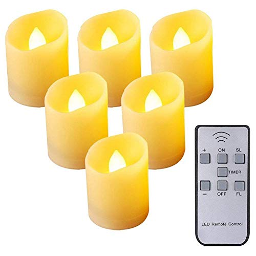 Cuasting Flameless Candles,Remote Control LED Flickering Candles Battery Operated Dancing Flame Tealight with Timer Function, 3 Modes & Brightness Adjustable, Warm White, 6 Pack
